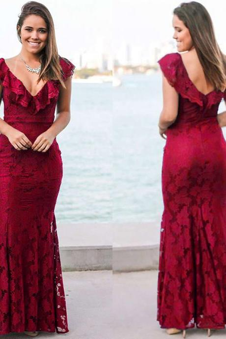 Ruffled Neckline Long mermaid Dress in Red and Black Colors