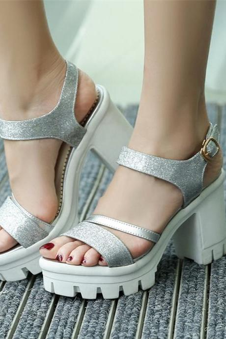Silver Gladiator Platform Fashion High heels Sandals