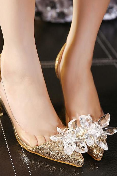 Pointed-Toe Glitter Gold Transparent Stiletto Heels, Pumps Adorned with Crystal Floral