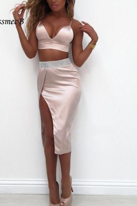 Deep V Neck Sexy Irregular Hem Two Piece Crop Top and Skirt Party Dress Set