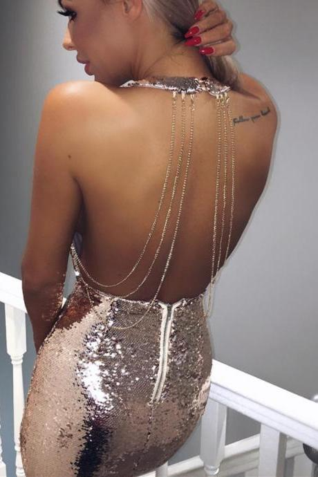 Plunge V Neck Sequin Backless Rose Gold Dress