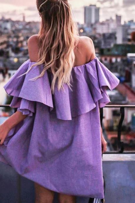 Off Shoulder Ruffled Mini Dresses