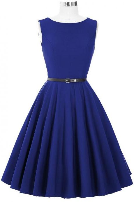 Blue Sleeveless vintage Style Party Dress