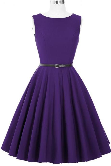 Sleeveless Purple Vintage Style Party Dress