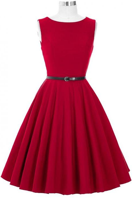 Red Sleeveless Vintage Style Party Dress
