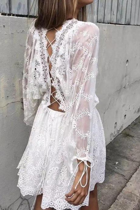 Boho Inspired White Summer Lace Jumpsuit