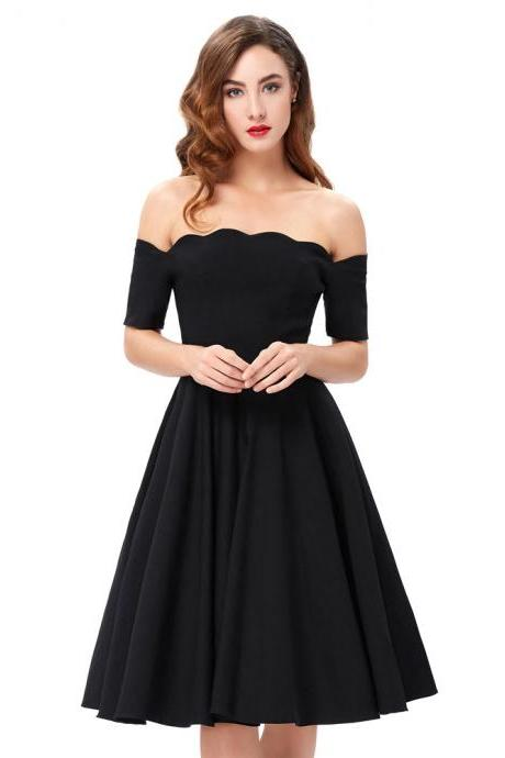 Black Scalloped Off-The-Shoulder Knee Length Ruffled Skater Dress, Party Dress