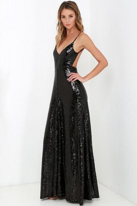 Sequins Plunge V Spaghetti Straps Floor Length A-Line Prom Dress Featuring Open Back