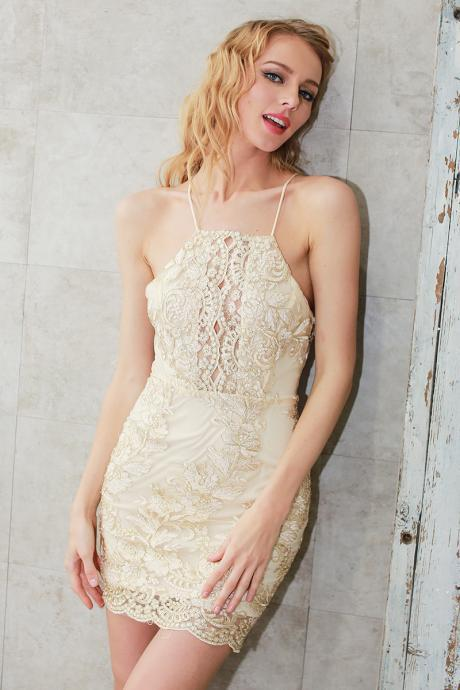 Halter Lace Party Dress