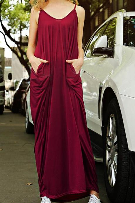 Spaghetti Strap Loose V Neck Maxi Dress