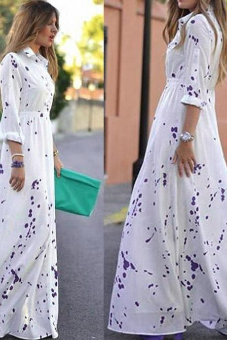 Elegant Long Sleeve White Chiffon maxi DRess