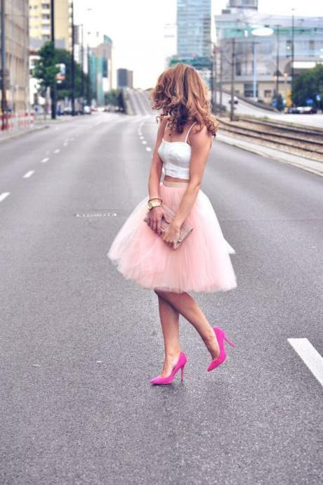 Pastel Pink Layers of Tulle Skirt