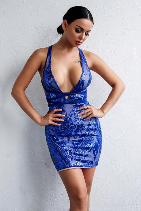 Blue V neck Lace Short Party Dress