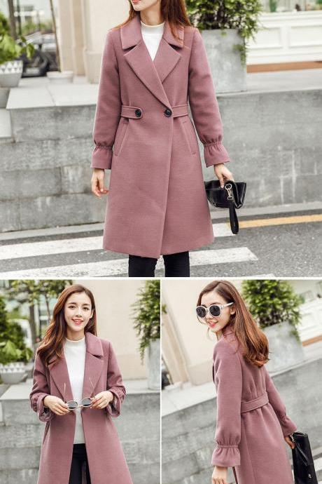 Gorgeous Ruffled Sleeve Long Winter Coat