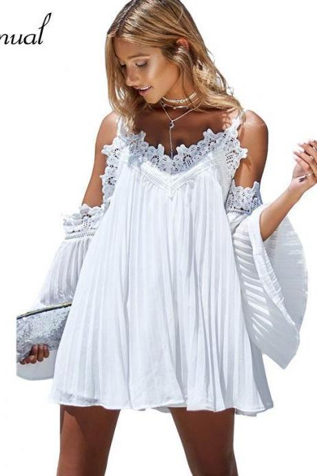Off Shoulder Boho Lace and Chiffon Dress