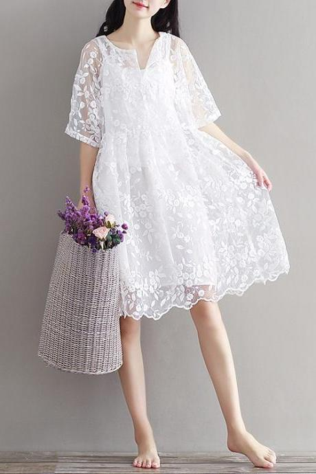 Chiffon and Lace High waist Beautiful White Lace Dress