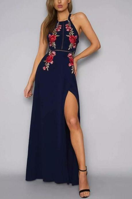 Floral Embroidered Halter Neck Maxi Dress Featuring Side Slit and Cutout Back