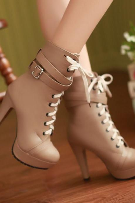 Chic High Heels Buckle Design Boots