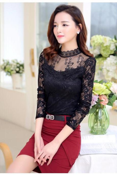 Chic Long Sleeve Lace Blouse in Black and White