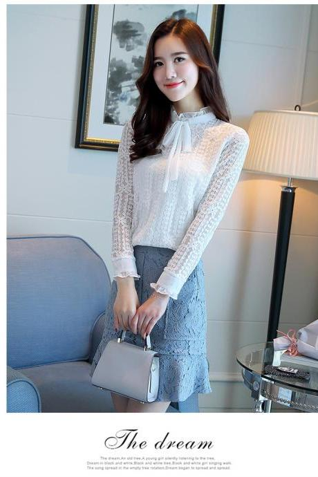 White Long Sleeve Lace Blouse