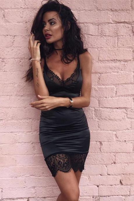Sexy Black Lace Party Mini Dress