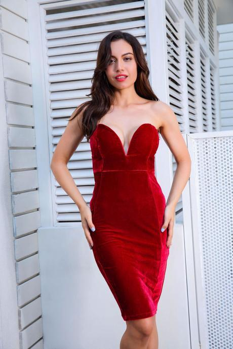 Stunning Red Off Shoulder Bodycon Velvet Party Dress
