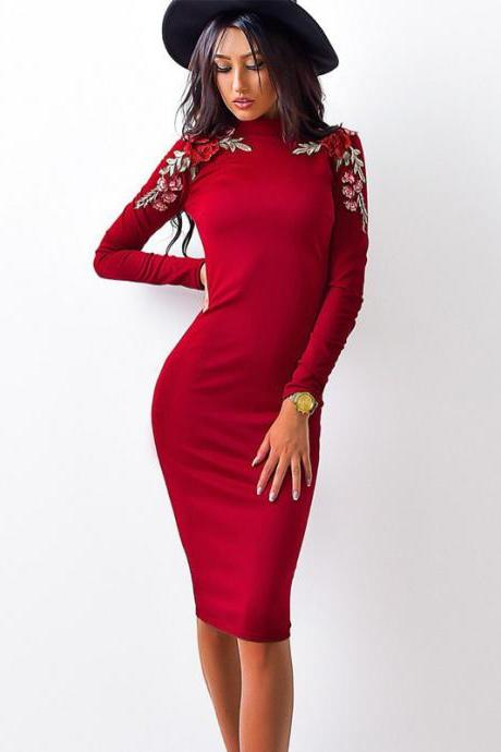 High Neck Bodycon Dress with Long Sleeves and Floral Embroidery