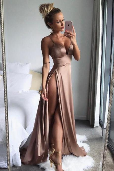 Gold V Neck Satin Long party dress with Slit