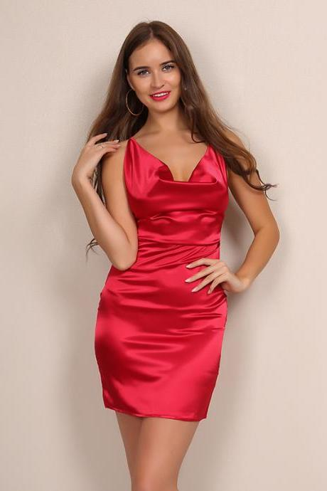 Red Satin Cowl Neck Sleeveless Short Bodycon Dress Featuring Criss-Cross Back
