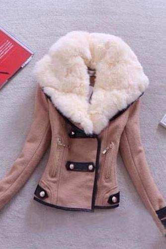 Fashion Winter Women's Warm Faux Fur Coat in Brown and Black