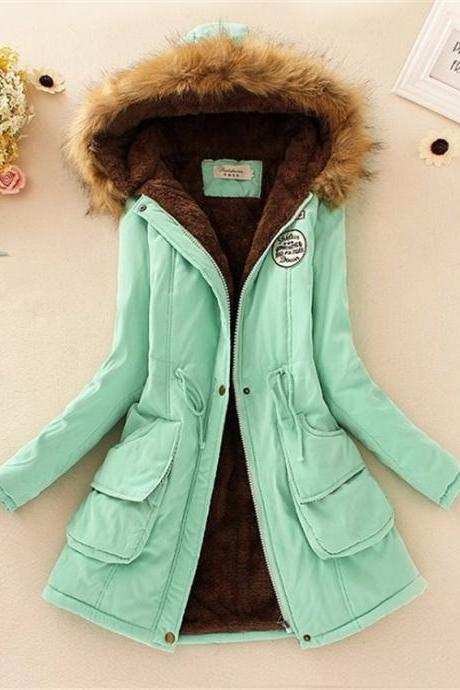 Casual hooded Fax Fur Parka Winter Coat