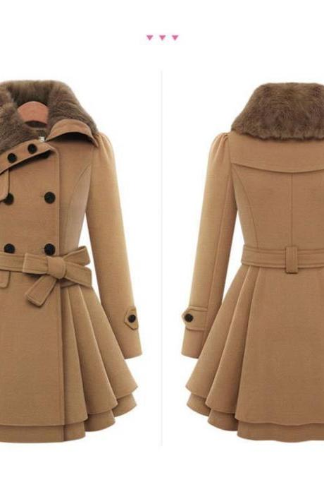 Faux Fur Collar Stylish Women's Winter Coat