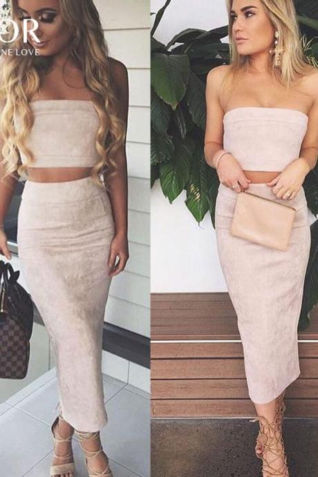 Sexy Two Piece Suede Bodycon Top and Skirt Dress Set