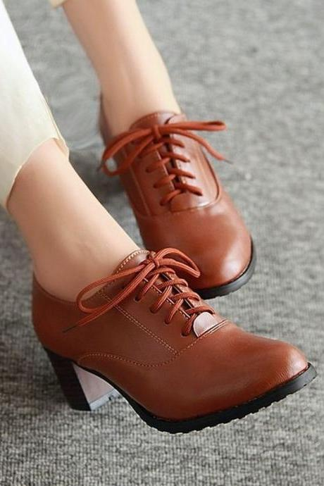 chic Brown Lace up Vintage Style High Heel Oxford Shoes