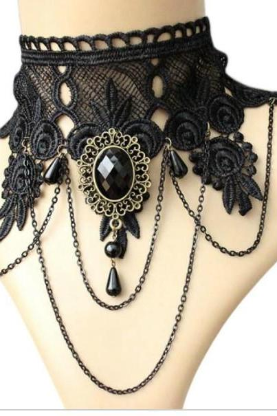 Victorian Gothic Lace Choker Necklace
