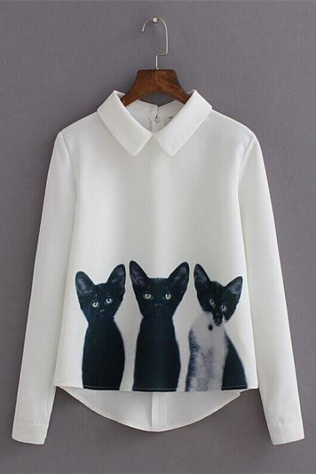 Cute Cats Long Sleeve Blouse Top