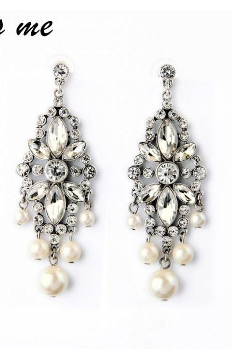 Beautiful Crystals and Pearls Earrings