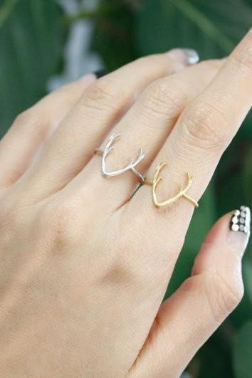 Cute Antler Animal rings in Silver and Gold