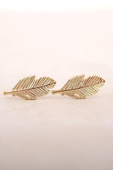 Leaf Stud Earrings in Gold, Silver or Rose Gold, Jewelry