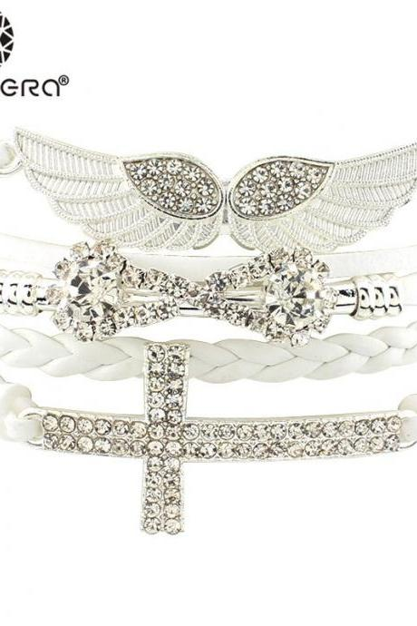 Gorgeous Angel Wings and Cross Bracelet