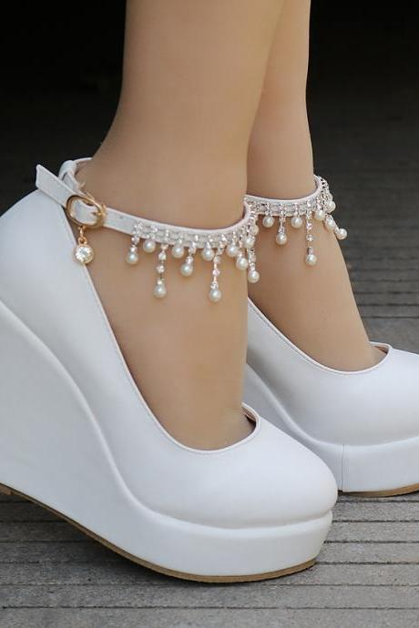 Pearl Beaded Ankle Strap Wedge Shoes in Black and White