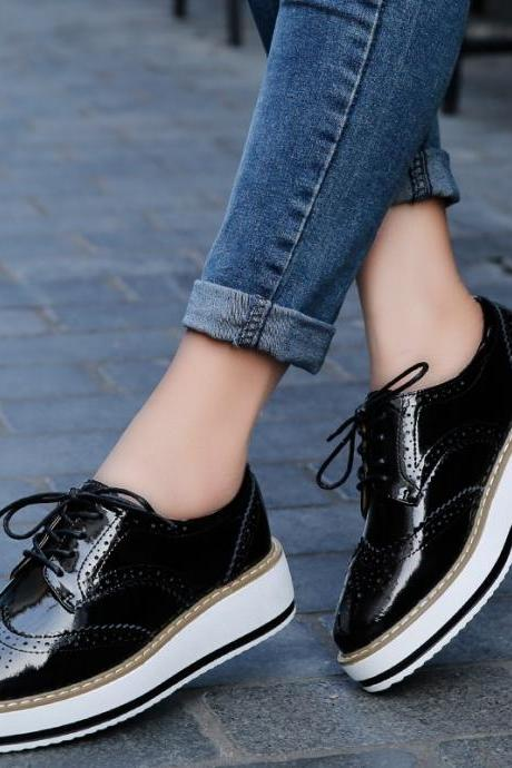 Black Platform Oxford Lace up Shoes