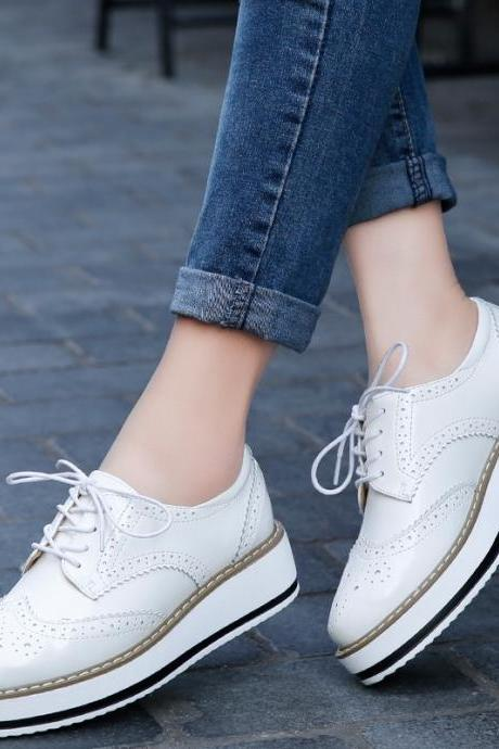White Platform Lace up Oxford Shoes