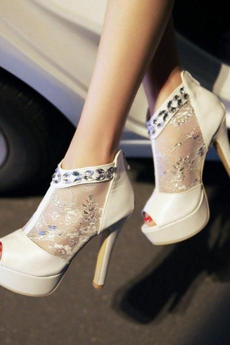 Black and White Sexy Peep Toe Lace High Heels Sandals