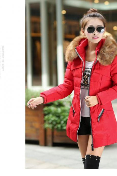 Red Faux Fur Warm Winter Coat