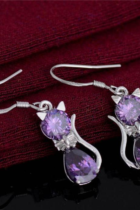 Purple Cat Crystal Earrings