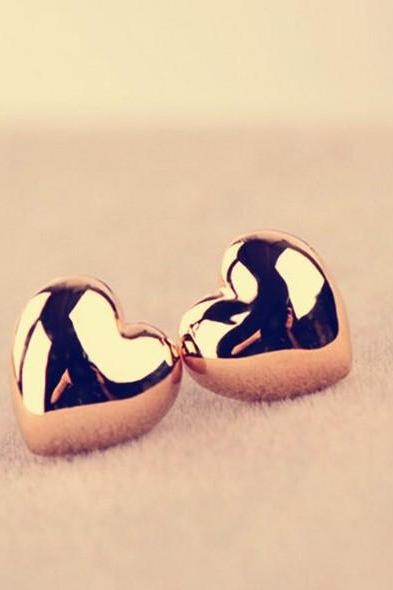 Heart Stud Earrings in Gold or Silver