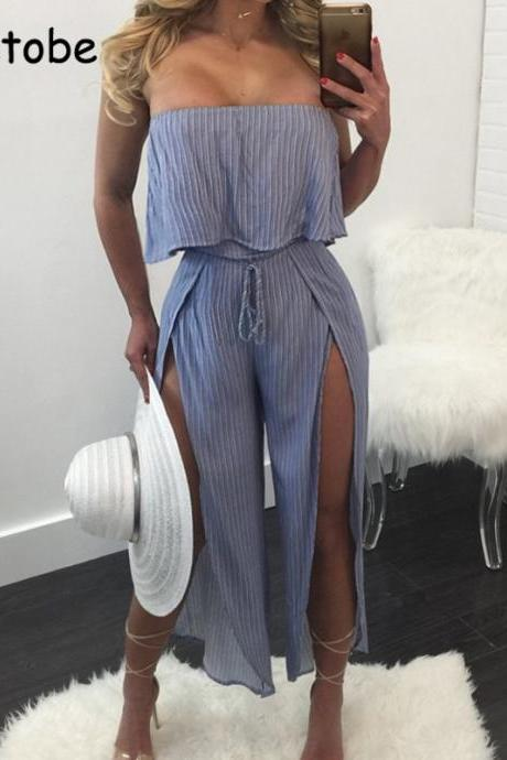 Fashion Off Shoulder Striped Beach Jumpsuit Romper