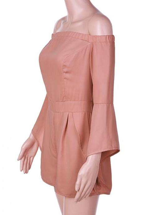 Flare Sleeve Summer Pink Cute Jumpsuit Romper
