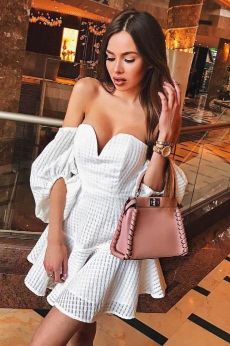 Off The Shoulder Mini Dresses V Neck Sexy Party Dress